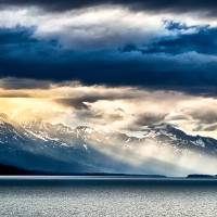 sunset in alaskan fjords in mud bay near sjagway Art Prints & Posters by Alexandr Grichenko