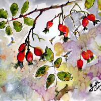 Rose Hips and Bees Watercolor and Ink Art Prints & Posters by Ginette Callaway