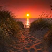 First Encouter Beach Sunset Art Prints & Posters by Dapixara Art