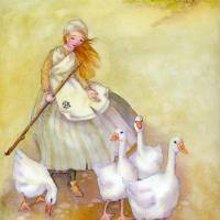 the goose girl Art Prints & Posters by Laurel Nelson