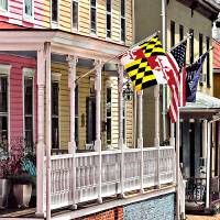Annapolis MD - Flags Along East Street Art Prints & Posters by Susan Savad