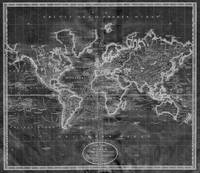 Black and White World Map (1801) Inverse