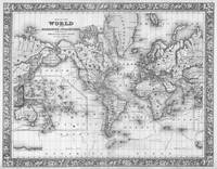 Black and White World Map (1864)