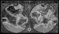 Black and White World Map (1607) Inverse