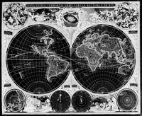 Black and White World Map (1665) Inverse