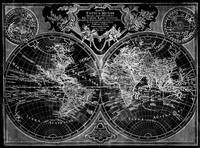 Black and White World Map (1775) Inverse