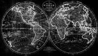 Black and White World Map (1795) Inverse