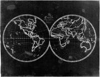 Black and White World Map (1821) Inverse