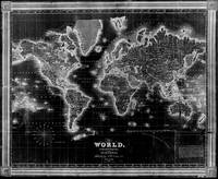 Black and White World Map (1840) Inverse