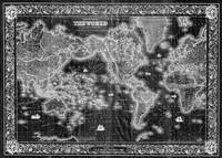 Black and White World Map (1852) Inverse