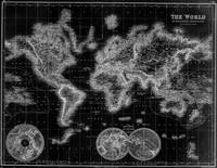 Black and White World Map (1872) Inverse