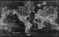 Black and White World Map (1892) Inverse