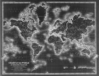 Black and White World Map (1911) Inverse
