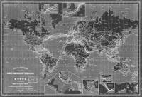 Black and White World Map (1898) Inverse