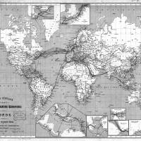 Black and White World Map (1898) Art Prints & Posters by Alleycatshirts @Zazzle
