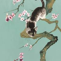 Fortune Cat in Cherry Tree by I.M. Spadecaller