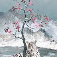 White Tiger And Plum Tree by I.M. Spadecaller