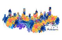 Melbourne Watercolor Skyline