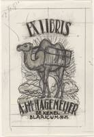 Design bookplate for AJM Hagemeyer, with a represe