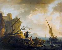 Horace Vernet, Rocky coast with castle ruins and s