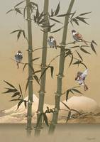 Sparrows And Bamboo