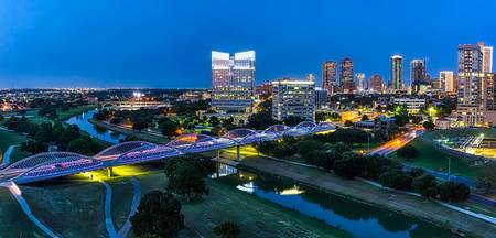 Fort Worth Skyline at Blue Hour Pano
