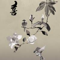 Magnolia and Two Sparrows Art Prints & Posters by I.M. Spadecaller
