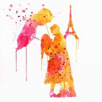 Watercolor Love Couple In Paris