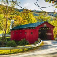 Red Covered Bridge and a Church, Vermont Art Prints & Posters by George Oze