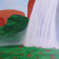 Waterfall with Red Flowers Art Prints & Posters by Alina Deutsch