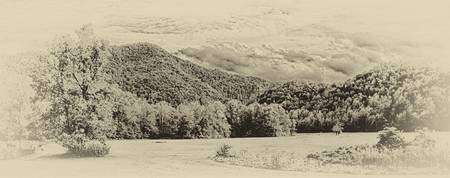 Wooded moutain foothills - panoramic - sepia