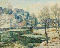 Ernest Lawson 1873-1939 SNOWY DAY ALONG THE RIVER