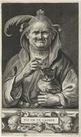 Old jester with cat, Alexander Voet (II), after Ja