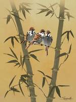 Three Sparrows In Bamboo Tree