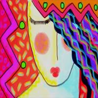 Colorful Abstract Digital Painting of a Woman