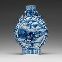 A BLUE AND WHITE MOONFLASK, QING DYNASTY