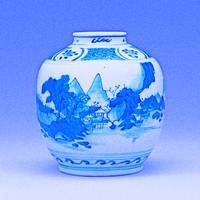 A BLUE AND WHITE JAR, MING DYNASTY D