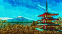 Japan Pagoda Fuji Volcano watercolor
