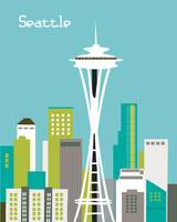 Seattle, Washington in Teal