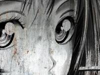 Metallic Anime Girl Eyes 2 Black And White