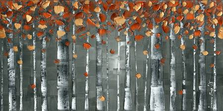 Copper Foliage Birch Tree Landscape