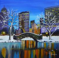 Winter In New York- Night Landscape vibrant colorf