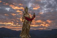 Sunrise and Buddhist Statue, Thimphu