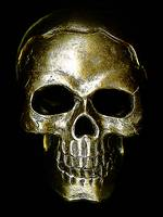etched bronze skull