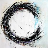 Black and white circle painting minimalist modern