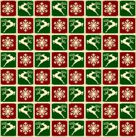 red and green squares with deer and snowflake dark