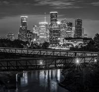 Houston Skyline Over Bayou BW Pano