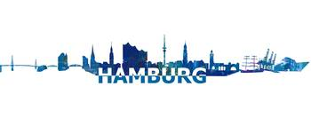 Hamburg Skyline Scissor Cut Giant Text