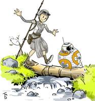 BB8 and Rey Calvin / and Hobbes Print