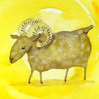 Aries Zodiac Horoscope Painting